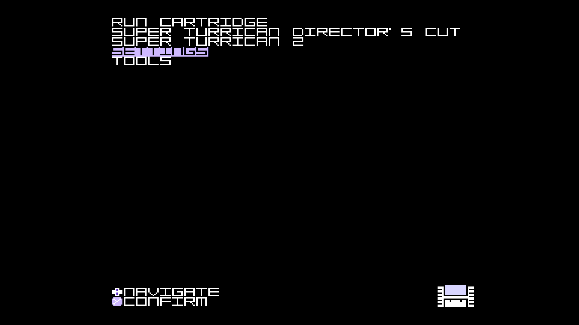 A screenshot of the Super Nt Main Menu with the Settings option highlighted.