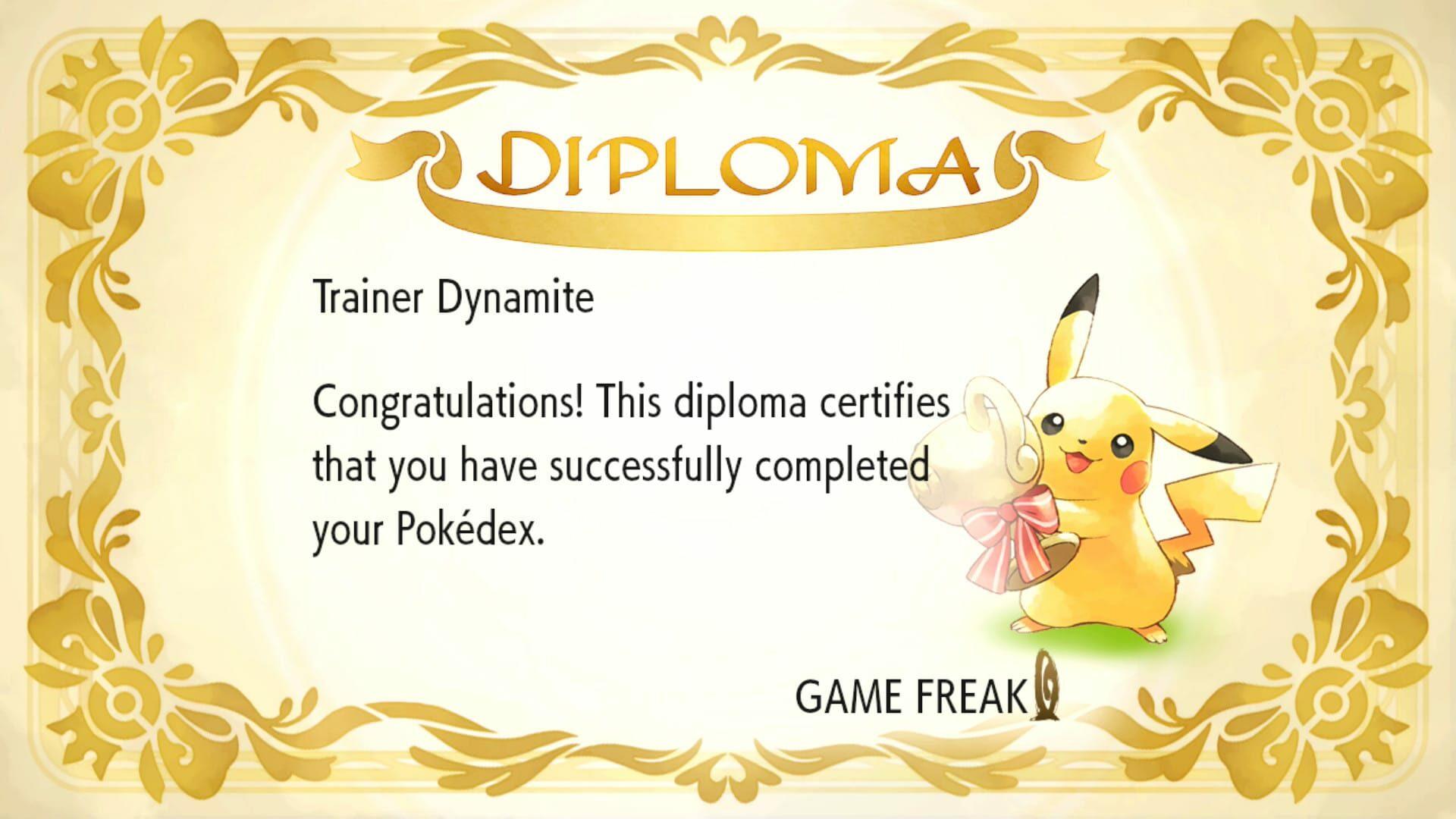 Pokédex completion diploma from Pokémon: Let's Go, Pikachu!