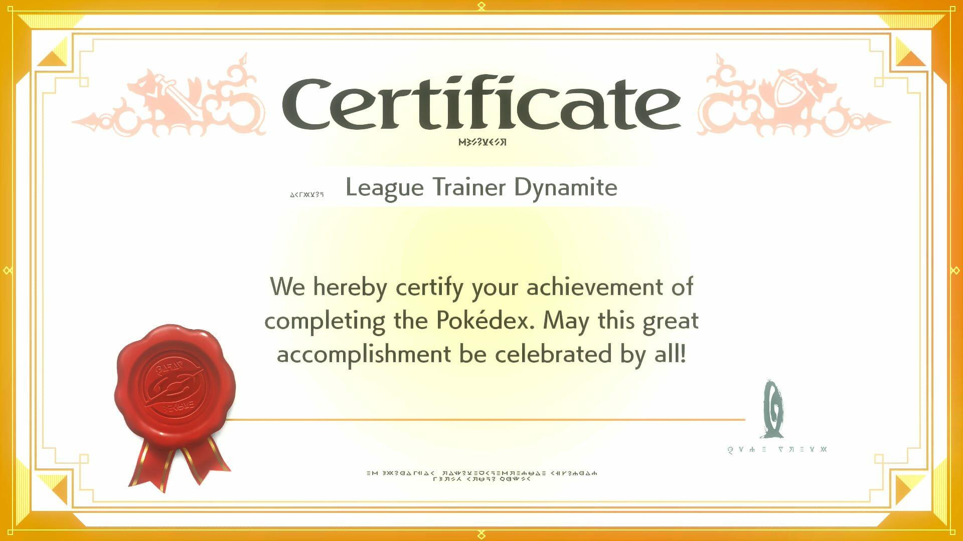 Pokédex completion certificate from Pokémon Shield.