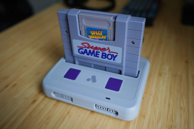 Space Invaders cartridge in a Super Game Boy in the Analogue Super Nt.