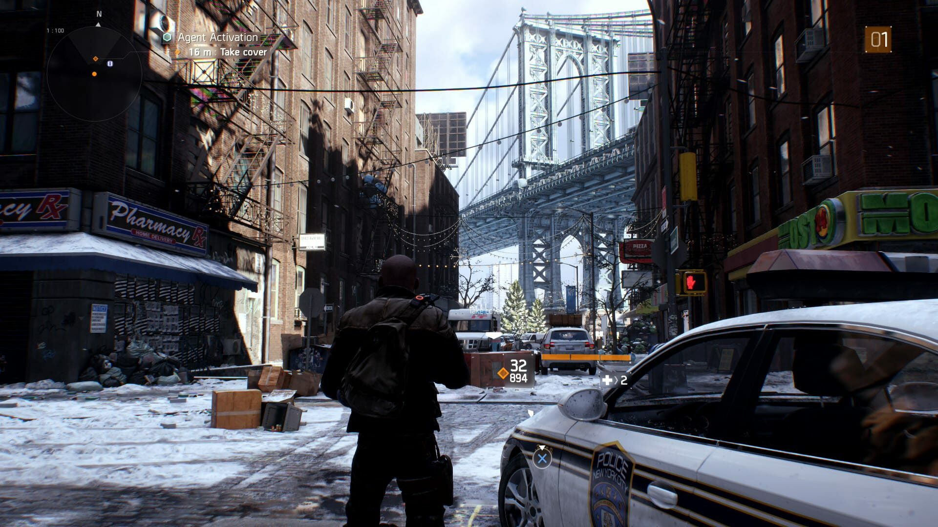 Screenshot from Tom Clancy's The Division with the character looking up at the Manhattan Bridge.