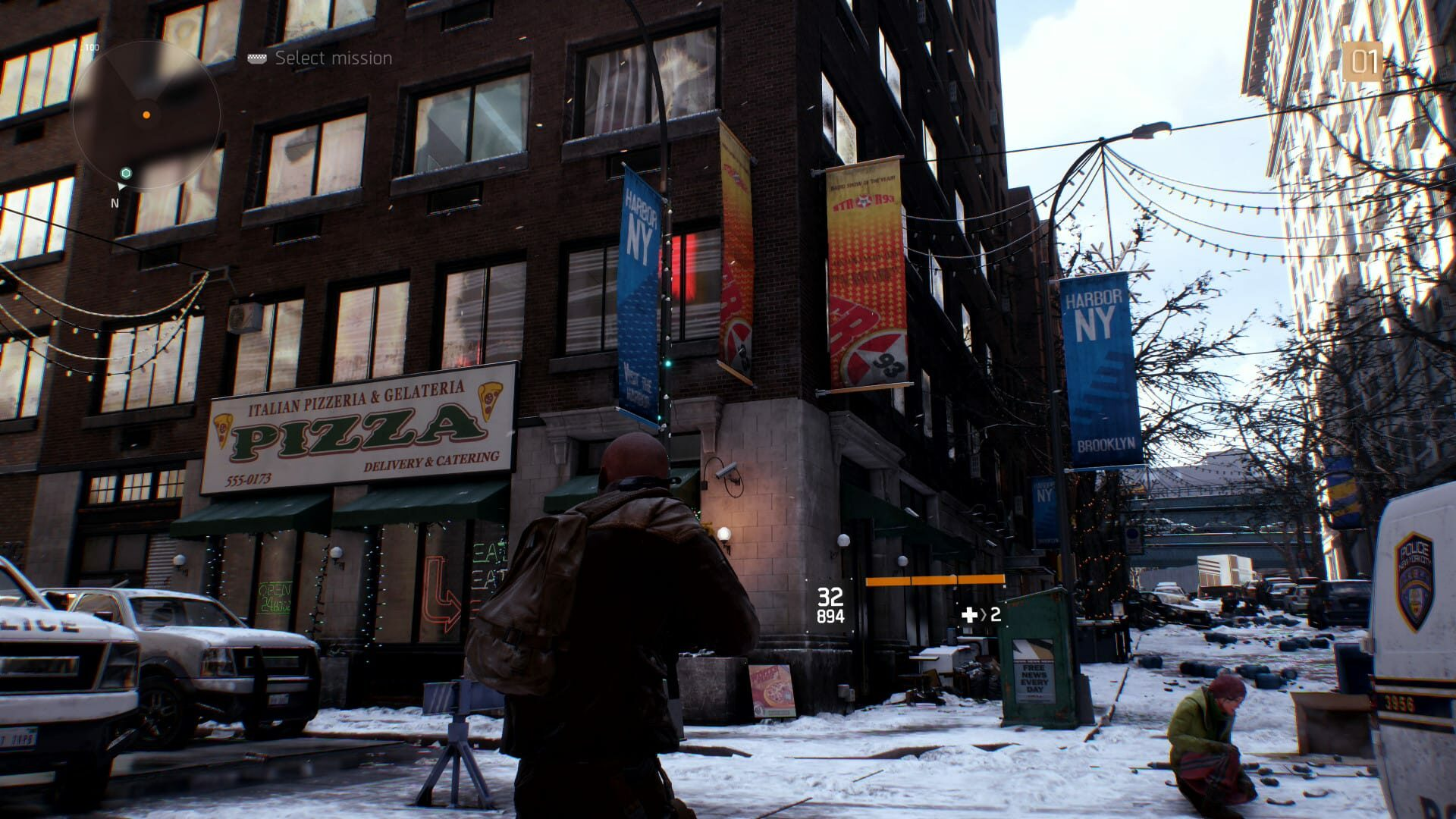 Screenshot from Tom Clancy's The Division with the character looking at a pizza shop in Brooklyn, NY.