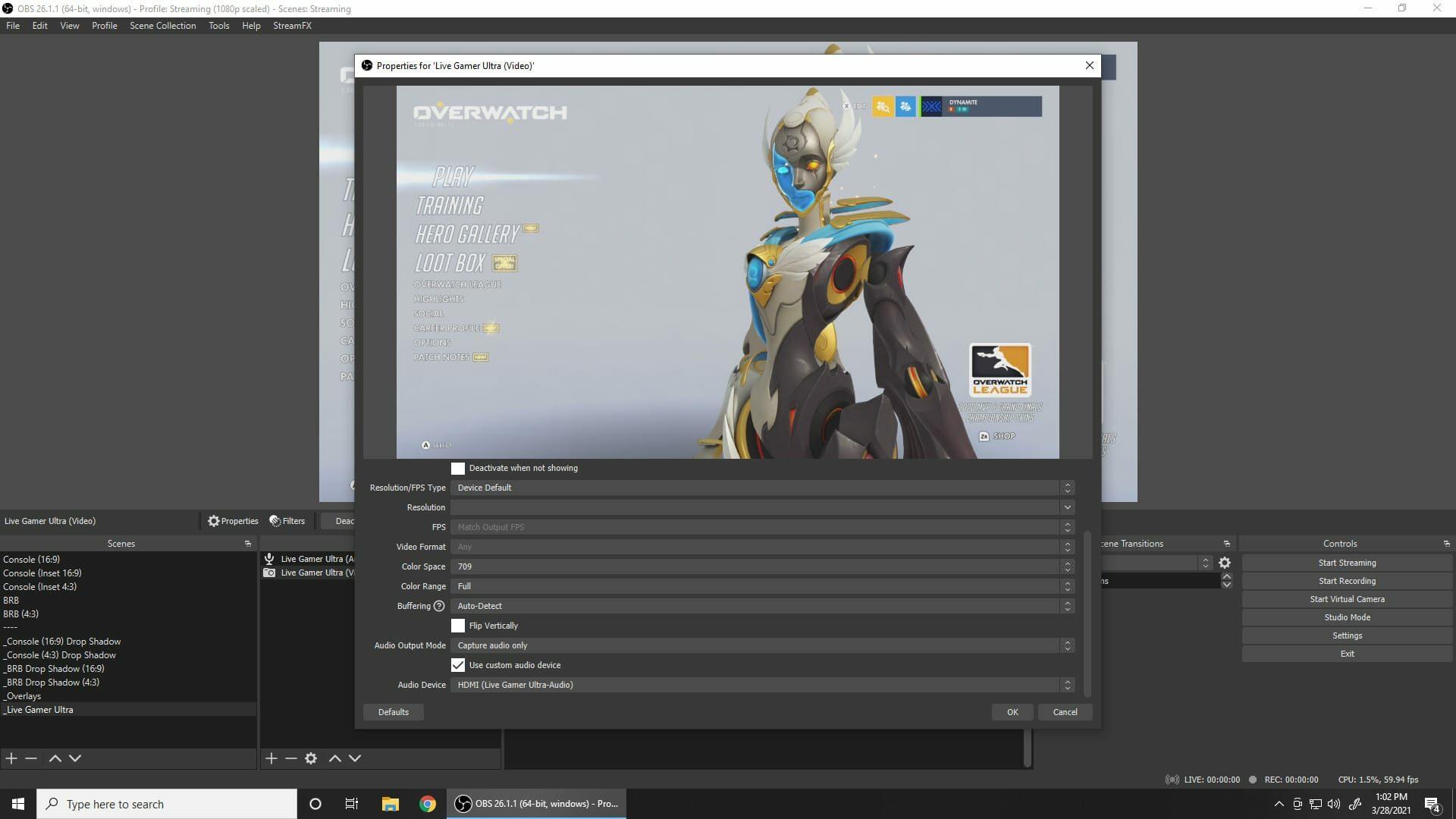 "Screenshot of OBS Studio's ""Use custom audio device"" setting"