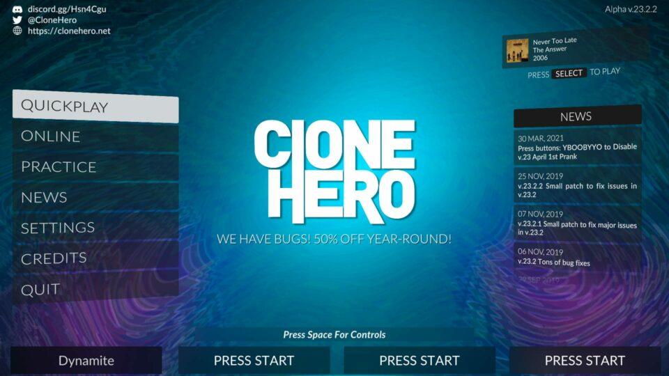 Clone Hero Main Menu