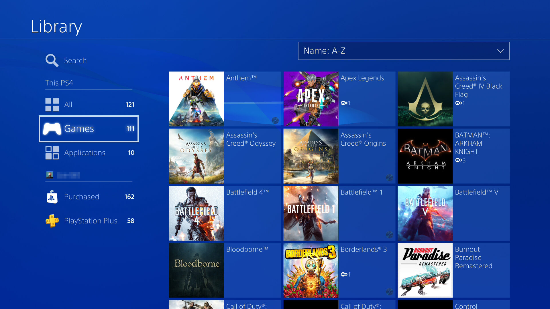 PS4 Library Screen