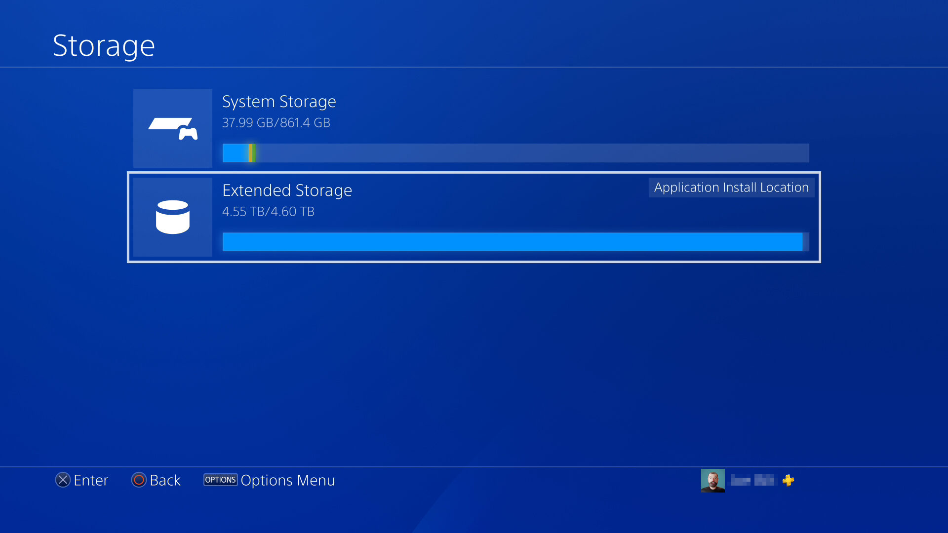 PS4 Storage Screen
