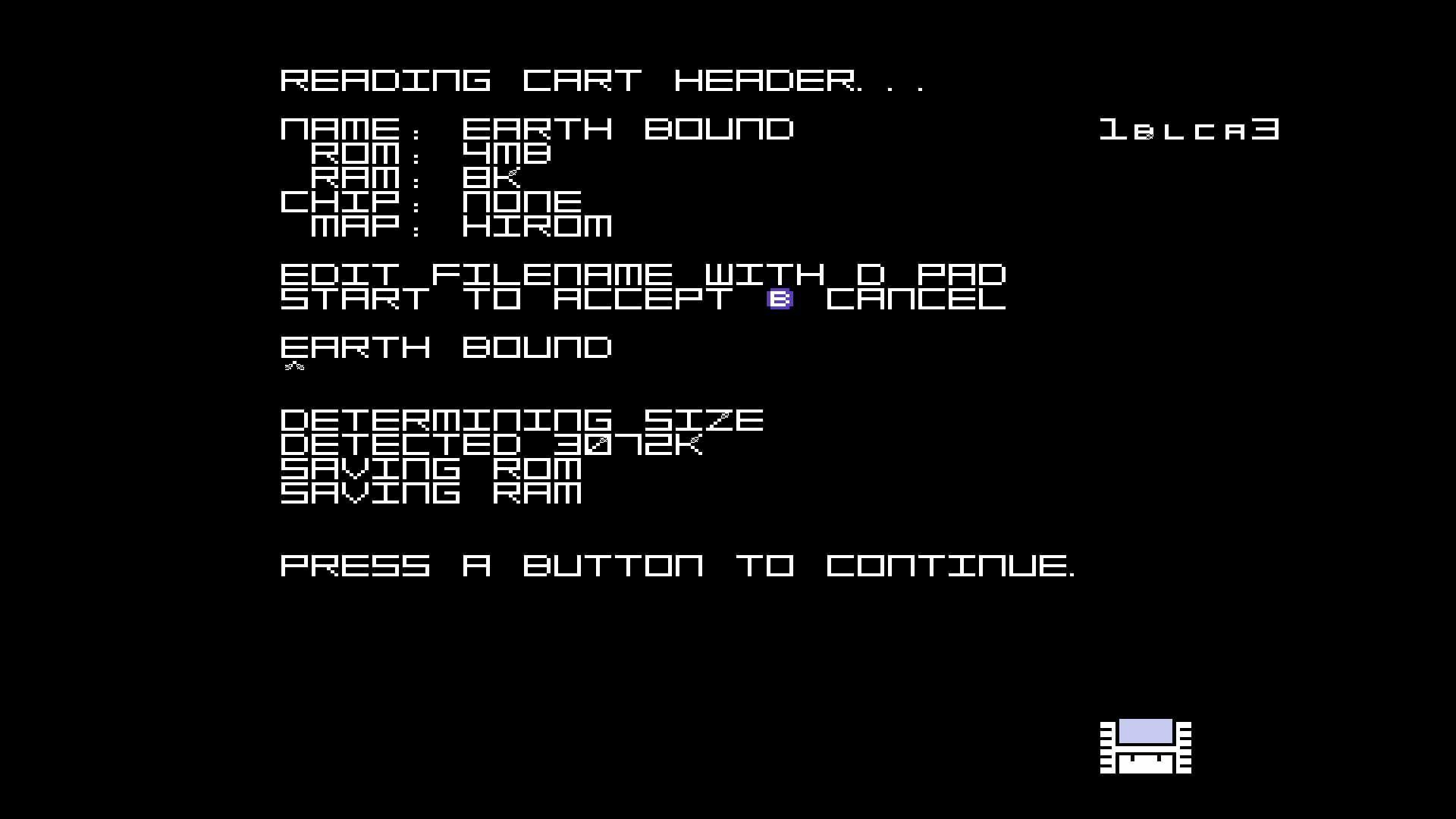 CopySNES completion screen